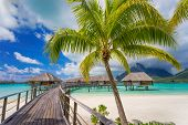 stock photo of french polynesia  - Road to the beautiful island of Bora Bora - JPG
