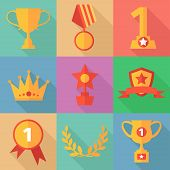 Vector success concept icons in flat design style, vector illustration