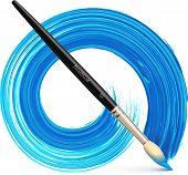 Vector paintbrush with blue brush stroke