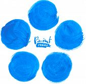 Blue vector  circlemarker stains set