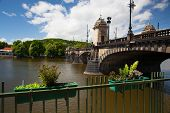 stock photo of legion  - The famous Bridge of Legions near the National Theater in Prague - JPG
