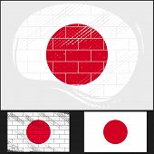 Scratched Flag Of Japan