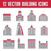 12 Vector Building Icons - Real Estate Collection