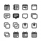 Notes and memos icons. Raster version