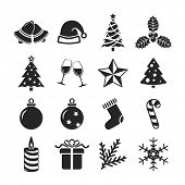 Christmas icons set. Raster version
