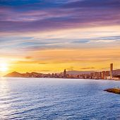 Benidorm Alicante sunset playa de Poniente beach in Spain Valencian community