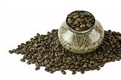 Coffee From The South America. Coffee Grains In The Jug Made By Indians And Ornamented Manually