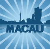 Macau skyline reflected with blue sunburst vector illustration