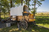stock photo of covered wagon  - An image of an old chuck wagon at the Grant  - JPG