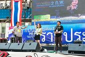 Bangkok - February 2: 3 Unidentified People Talking On Stage For Thailand's Protest Against The Gove