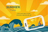 Summer tropical concept background, smartphone make picture of summer view.