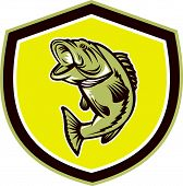 Largemouth Bass Jumping Shield Retro