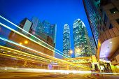 Hongkong Of Modern Landmark Buildings Backgrounds Road Light Trails