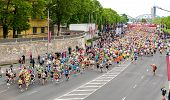 Latvia, Riga-18 May,2014:the 24Th Nordea Riga Marathon,at This Time The Marathon Gained Internationa