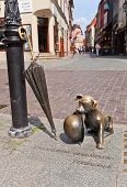 Statue Of Dog Filus In Torun, Poland