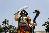 A tall statue of Hindu mythological demon Mahishasura