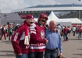 The hockey fans with a moustache from Latvia