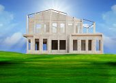 frame knock down of house construction on beautiful green grass field use for real estate and land d