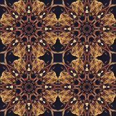 Seamless floral ornament, bark on fabric