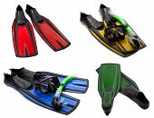 Set Of Multicolored Flippers, Mask, Snorkel For Diving With Water Drops