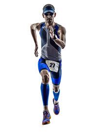 image of triathlon  - man triathlon iron man athlete runners running in silhouette on white background - JPG