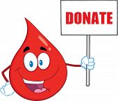 Red Blood Drop Cartoon Character Holding Up A Blank Sign With Text Donate
