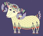 goat symbol of 2015 year, decorative drawing in ethnic style