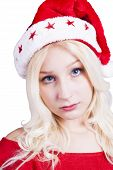 foto of fancy-dress  - Sexy blonde Female Santa Claus with Hat and fancy dress costume - JPG