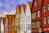 BERGEN, NORWAY - AUGUST 02: UNESCO World Heritage Site - Bryggen, in Bergen Norway, on August 02, 2011. Bryggen is famous old wooden buildings.