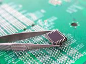 Microchip In The Tweezers
