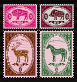 Set Of Vector Postage Stamps With Boar, Bison, Deer, Horse