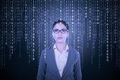 Businesswoman Try To Translate Binary Code