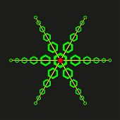 picture of psychodelic  - Star with green hexagons on black background - JPG