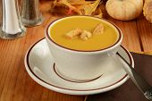 picture of butternut  - A cup of butternut squash soup with pumpkin croutons - JPG