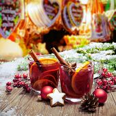 Two glasses of  mulled wine on german christkindl markt