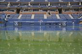 Rain delay during US Open 2014 at Arthur Ashe Stadium at Billie Jean King National Tennis Center
