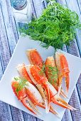 picture of cooked blue crab  - crab claws with fresh dill on white plate - JPG