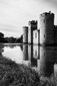 Stunning Moat And Castle In Autumn Fall Sunrise With Mist Over Moat Black And White