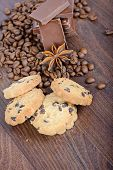 Cookies, coffee beans, anise and chocolate