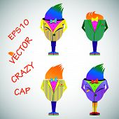 Vector illustration, Cup as a crazy man in bright clothes