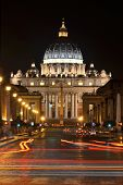 Monumental St. Peters Basilica at night in Vatican City