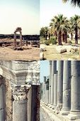Set of images of ancient ruin in Side, Turkey