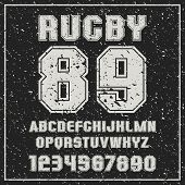 Sans Serif Font Rugby Team With The Contours And Shabby Texture