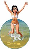 Cartoon Girl In A Swimsuit Joyously Jumping In The Water.eps