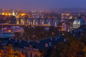 Aerial View Over The Bridges On The Vltava River In Prague, Czech Republic