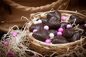 Home Made Chocolates In Metal Basket With Purse