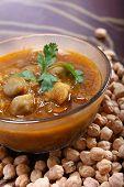 Indian Spicy Chana Masala, Raw Chickpeas Around Bowl