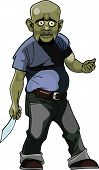 Cartoon Goblin Man Thug With A Knife.eps
