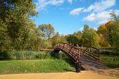 Wooden Bridge Across Small River