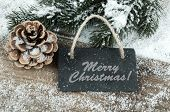 Black Board Of Slate On Old Rustic Wooden Background